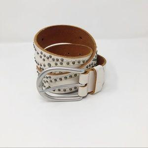White leather Studded Belt Silver Hardware Medium